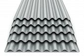 Stack Or Group Of Stacked Metal Steel Zinc-plated Or Galvanized Wave Shaped Profile Sheets For Roof  poster
