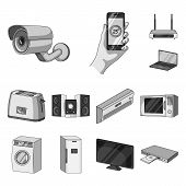 Smart Home Appliances Monochrome Icons In Set Collection For Design. Modern Household Appliances Vec poster