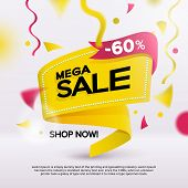 Big Sale Banner For Your Promotion. Limited Offer, Discounts. Yellow Sticker Template With Defocused poster