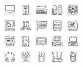 Computer Thin Line Icons Set. Outline Web Sign Kit Of Electronics. Gadget Linear Icon Collection Inc poster