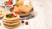 assorted waffle, pancake and crepe poster