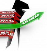 Постер, плакат: План слова вперед растет вверх стрелка над проблемой в то время как другие стрелки отмечен No план попадают в