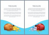 Treasure Posters With Bags, Shiny Diamonds And Heap Of Gold Coins. Ancient Precious Treasures In Bun poster