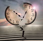 Beautiful Conceptual Surreal Image Representing A Large Clock And A Cracked Stairway In Two poster