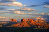 pic of mountain sunset  - Scenic view of Arizona Red Rocks at sunset - JPG