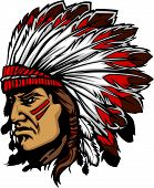 image of indian chief  - Native American Indian Chief Mascot with Headdress Graphic - JPG