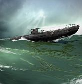 3d Illustration Of A German U-boat Patrolling The Roughs Seas Of The North Atlantic poster