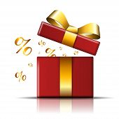 Gift Box Sale Icon. Surprise Present Red Template, Gold Ribbon Bow, Isolated White Background. Opene poster