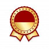 Award Ribbon Isolated. Gold Red Design Medal, Label, Badge, Certificate. Symbol Best Sale, Price, Qu poster