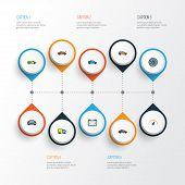 Automobile Icons Colored Line Set With Sport, Car, Battery And Other Sport  Elements. Isolated Vecto poster
