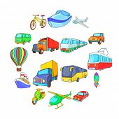 Cartoon Transport Icons Set. Universal Transport Set To Use For Web And Mobile Ui, Set Of Basic Tran poster