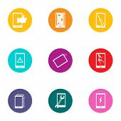 Displaying Icons Set. Flat Set Of 9 Displaying Vector Icons For Web Isolated On White Background poster