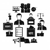 Election Voting Icons Set. Simple Illustration Of 16 Election Voting Vector Icons For Web poster