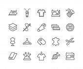 Simple Set Of Sewing Related Vector Line Icons. Contains Such Icons As Sewing Machine, Measuring Tap poster
