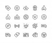 Simple Set Of Shopping Features Related Vector Line Icons. Contains Such Icons As New, Sale, Discoun poster