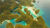 Aerial View: Bucas Grande Island, Sohoton Cove. Philippines. Tropical Sea Bay And Lagoon, Beach. Tro poster