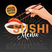 Vector Sushi Bar Munu. Japanese Food Promo Poster Illustration For Sushi Rolls Shop. poster
