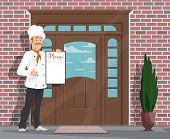 Chef With Menu Inviting To Restaurant Or Cafe. Vector Flat Design Of Restaurant Facade Door And Man  poster