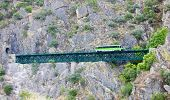 pic of motor coach  - engine coach on railway viaduct near Tua - JPG