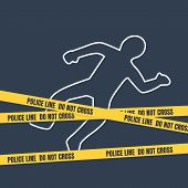 Crime Scene With Body Outline. Police Line Do Not Cross Tape poster