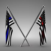 Flags honoring Police and Firefighters - 3d render