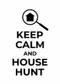 Typography Poster About House Hunting. Finding New Home Motivational Vector Background With Simple H poster