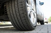 Car Tire Close Up, Parked Car Low Angle Shot poster