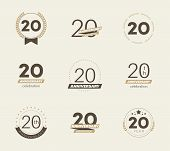 20 Years Anniversary Logo Set. 20th Anniversary Icons. Vector Illustration. poster