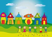 foto of daycare  - Happy children and their colorful and cute houses - JPG