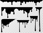 Black Dripping Oil Stain, Liquid Drips Or Paint Current Vector Ink Silhouettes Isolated. Illustratio poster
