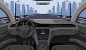 Inside Car Driver View With Rudder, Dashboard Front Panel And Highway In Windshield Cartoon Highway  poster