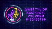 Neon Jazz Cafe Glowing Sign With Saxophone And Alphabet In Circle Frame On A Dark Brick Wall Backgro poster