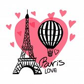 Vector Hand Draw Air Balloon And Paris Eiffel Tower Isolated On Pink Heart And White Background poster