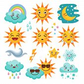 Various Weather Icon Set. Snowflake And Rain, Cloudy And Forecast, Storm And Snow. Vector Illustrati poster