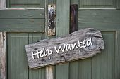 Help Wanted Sign On Old Green Doors. poster