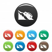 Mountain Accident Icon. Simple Illustration Of Mountain Accident Vector Icons Set Color Isolated On  poster