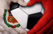 Hands Painted With An Peru Flag Forming A Heart Over Soccer Ball Background poster