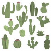 Cactus Icons In Flat Handrawn Style On White Background Vector Illustration. Home Plants Cactus With poster