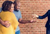 Black couple buy new house poster