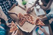 Top View Portrait Of Cropped People Taking, Holding Slices Of Pizza, Group Of Friends Sharing Pizza  poster
