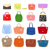 Woman Bag Vector Girls Handbag Or Purse And Shopping-bag Or Clutch From Fashion Store Illustration B poster