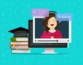 Webinar Vector Illustration, Flat Cartoon Computer Watching Video Online Internet Training, Educatio poster