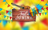 Festa Junina Illustration With Acoustic Guitar, Party Flags And Paper Lantern On Yellow Background.  poster