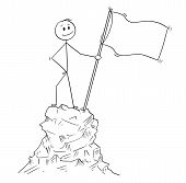 Cartoon Stick Man Drawing Conceptual Illustration Of Businessman Standing With Flag On Peak Or Top O poster