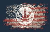 Vector Banner For Legalize Marijuana With Hemp Leaf On Abstract Background Of American Flag In Grung poster