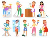 Housewife Vector Woman Housekeeping And Holding House Clean With Vacuum Cleaner And Washing Machine  poster
