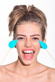 Emoji Girl. Beautiful Girl With Tears On Stick. Emoji Style. Girl With Tears On Laughing Face. Close poster