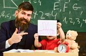 Teacher And Pupil In Mortarboard, Chalkboard On Background. Father With Beard, Teacher Teaches Son,  poster