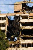 picture of former yugoslavia  - ministry of defense building in Belgrade damaged during the 1999 NATO bombing - JPG