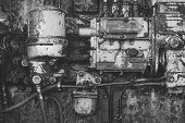 Machinery With Oil Dirt On Grunge Metal Background. Industry, Engineering, Machine. Old Technology,  poster